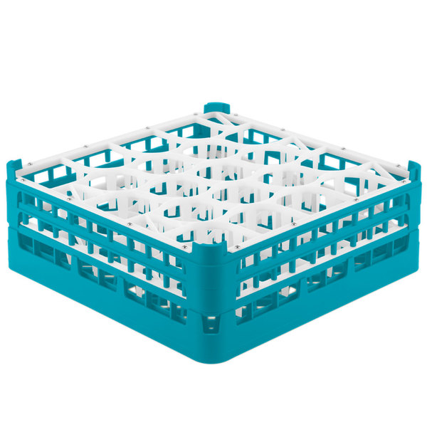 "Vollrath 52703 Signature Lemon Drop Full-Size Light Blue 20-Compartment 5 11/16"" Tall Glass Rack Main Image 1"