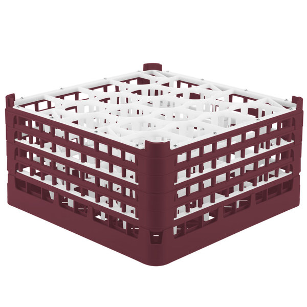 "Vollrath 52709 Signature Lemon Drop Full-Size Burgundy 20-Compartment 9 1/16"" XX-Tall Plus Glass Rack Main Image 1"