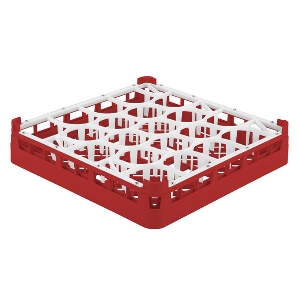 "Vollrath 52691 Signature Lemon Drop Full-Size Red 20-Compartment 2 13/16"" Short Glass Rack"