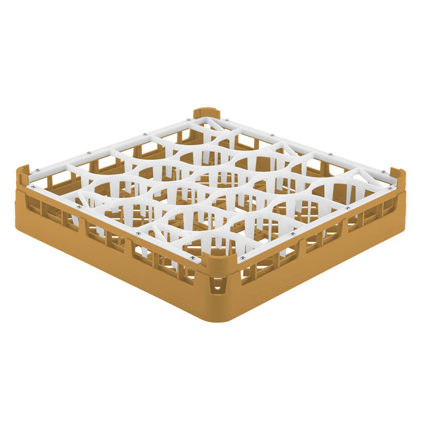 "Vollrath 52691 Signature Lemon Drop Full-Size Gold 20-Compartment 2 13/16"" Short Glass Rack Main Image 1"