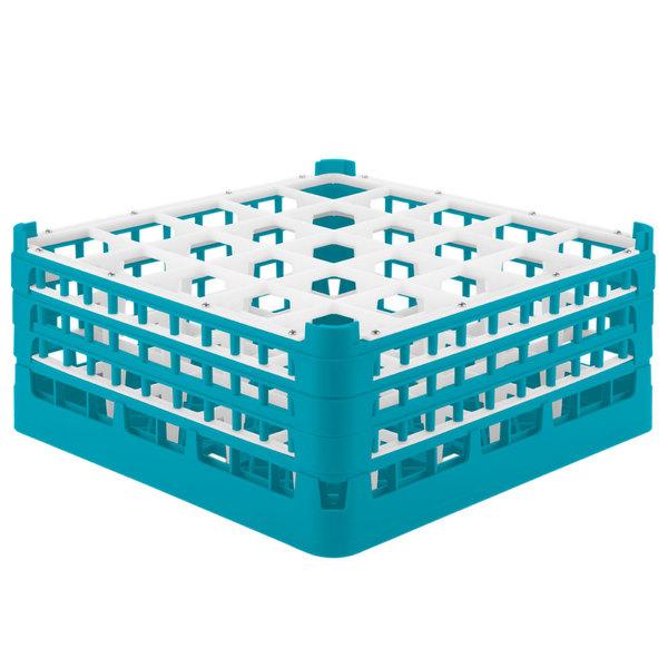 "Vollrath 52712 Signature Full-Size Light Blue 25-Compartment 7 1/8"" X-Tall Glass Rack"