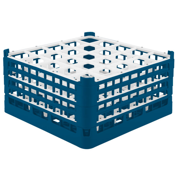 "Vollrath 52713 Signature Full-Size Royal Blue 25-Compartment 8 1/2"" XX-Tall Glass Rack Main Image 1"
