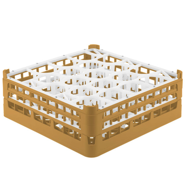 "Vollrath 52704 Signature Lemon Drop Full-Size Gold 20-Compartment 6 1/4"" Tall Plus Glass Rack"