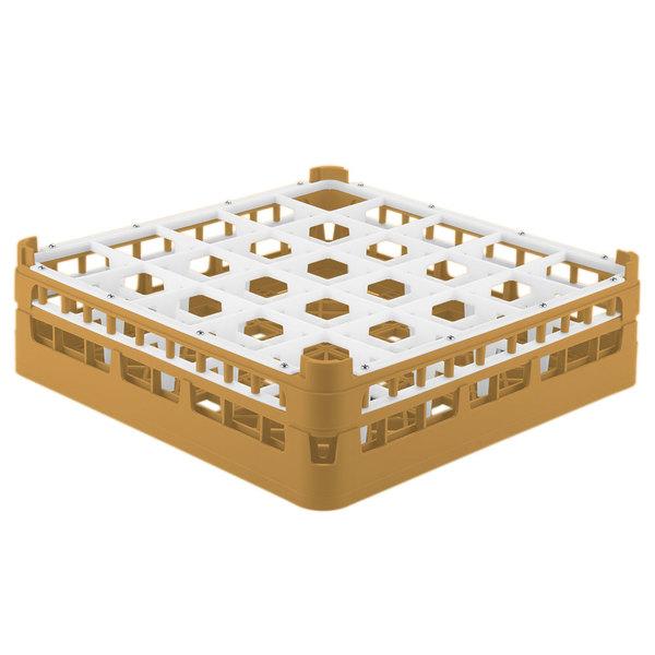 """Vollrath 52710 Signature Full-Size Gold 25-Compartment 4 5/16"""" Medium Glass Rack"""