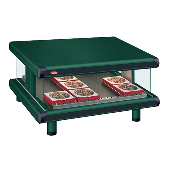 "Hatco GR2SDS-42 Hunter Green Glo-Ray Designer 42"" Slanted Single Shelf Merchandiser - 120V"