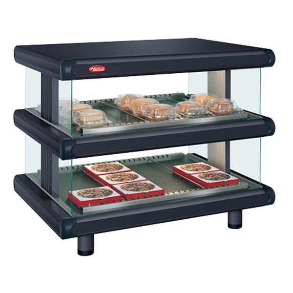 """Hatco GR2SDH-54D Black Glo-Ray Designer 54"""" Horizontal Double Shelf Merchandiser - 120/208V"""