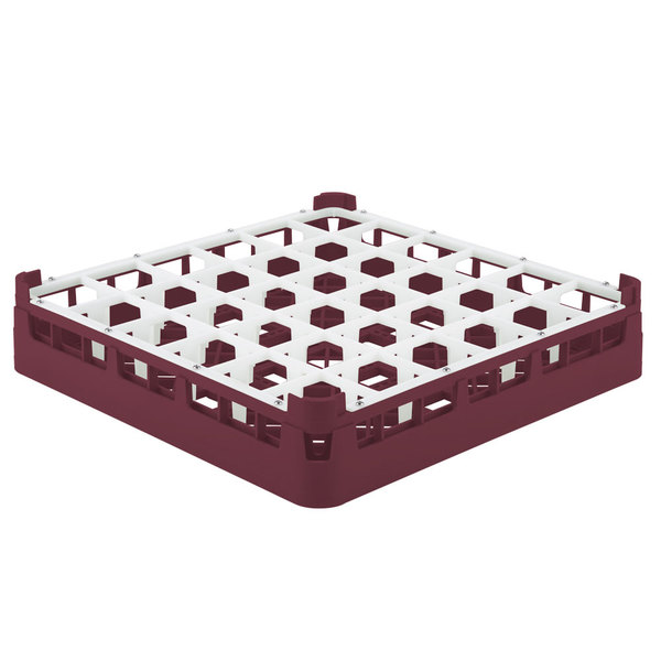 "Vollrath 52689 Signature Full-Size Burgundy 36-Compartment 2 13/16"" Short Glass Rack"