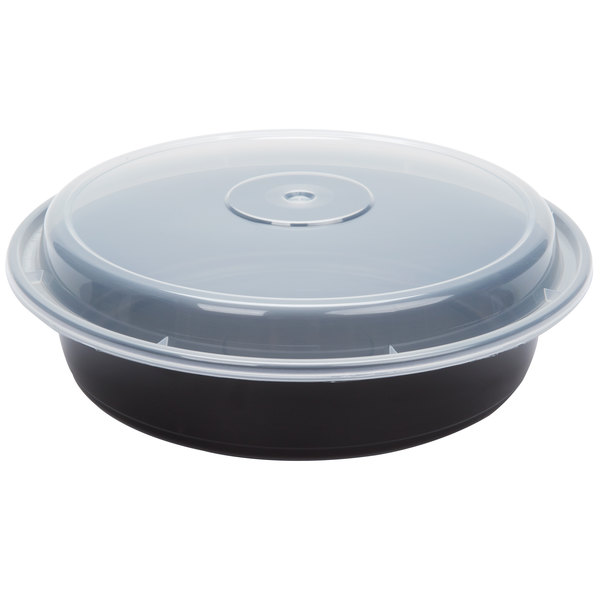 Newspring NC-737-B 35 oz. Black 8 inch VERSAtainer Round Microwavable Container with Lid - 150/Case