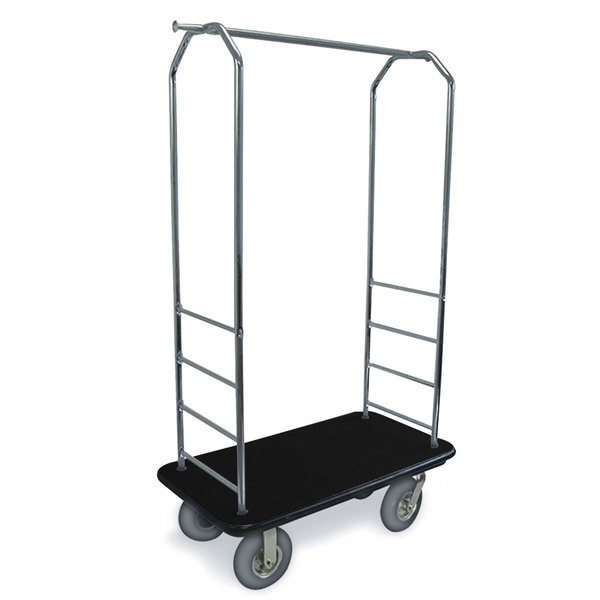 "CSL 2000BK-020 Chrome Finish Bellman's Cart with Rectangular Black Carpet Base, Black Bumper, Clothing Rail, and 8"" Gray Pneumatic Casters - 43"" x 23"" x 72 1/2"""