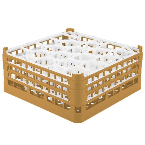 "Vollrath 52706 Signature Lemon Drop Full-Size Gold 20-Compartment 7 1/8"" X-Tall Glass Rack Main Image 1"