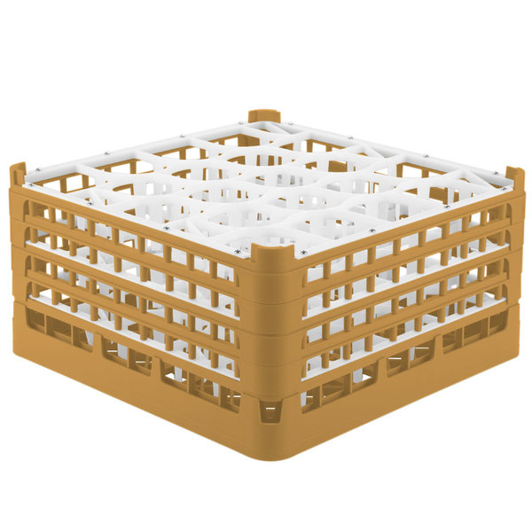 "Vollrath 52708 Signature Lemon Drop Full-Size Gold 20-Compartment 8 1/2"" XX-Tall Glass Rack"