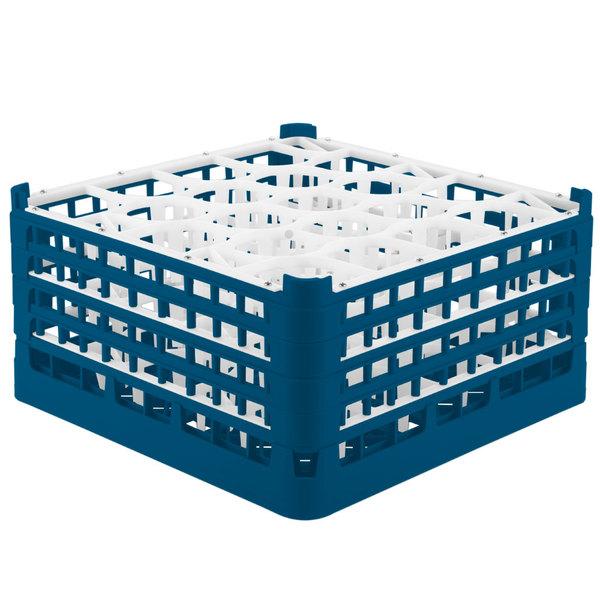 "Vollrath 52708 Signature Lemon Drop Full-Size Royal Blue 20-Compartment 8 1/2"" XX-Tall Glass Rack Main Image 1"
