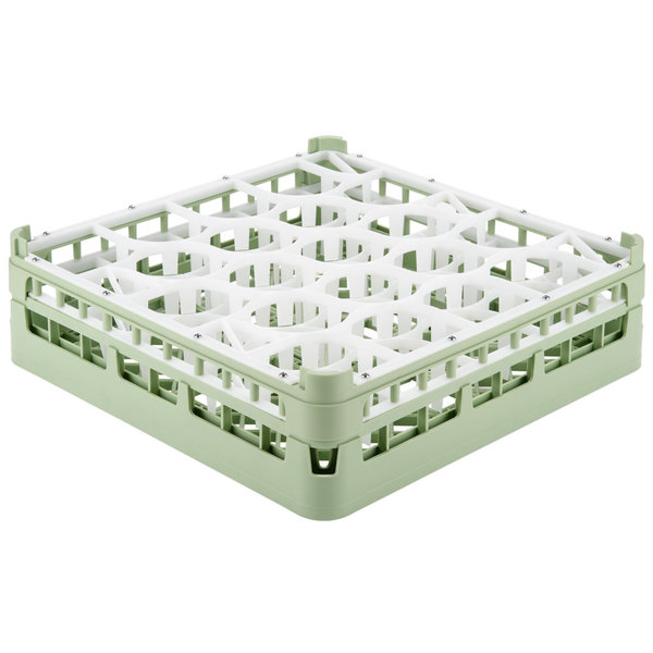 "Vollrath 52702 Signature Lemon Drop Full-Size Light Green 20-Compartment 4 13/16"" Medium Plus Glass Rack Main Image 1"