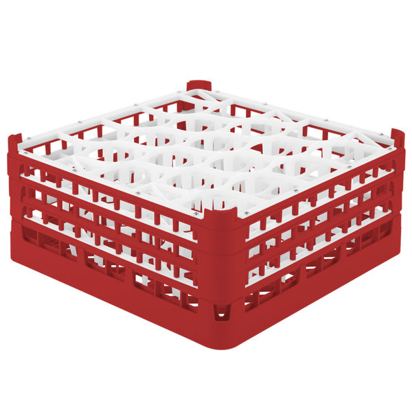 "Vollrath 52707 Signature Lemon Drop Full-Size Red 20-Compartment 7 11/16"" X-Tall Plus Glass Rack"