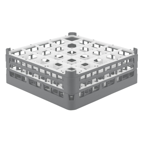 """Vollrath 52711 Signature Full-Size Gray 25-Compartment 5 11/16"""" Tall Glass Rack"""