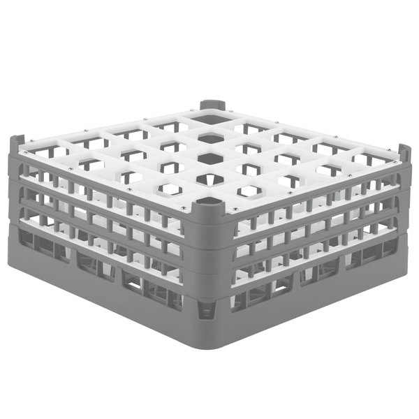 """Vollrath 52712 Signature Full-Size Gray 25-Compartment 7 1/8"""" X-Tall Glass Rack Main Image 1"""