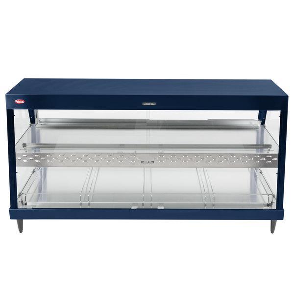 "Hatco GRHD-4PD Navy Blue Stainless Steel Glo-Ray 58 1/2"" Full Service Dual Shelf Merchandiser - 120/240V"