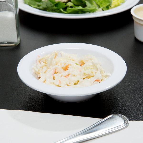 Narrow Rim Nustone Melamine Fruit / Monkey Dish - White - 12/Pack & Thunder Group NS303W 4 oz. Narrow Rim Nustone Melamine Fruit ...
