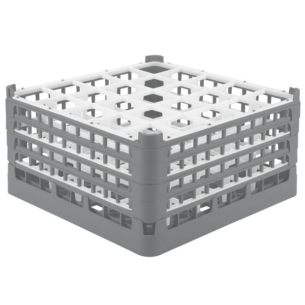 "Vollrath 52713 Signature Full-Size Gray 25-Compartment 8 1/2"" XX-Tall Glass Rack Main Image 1"