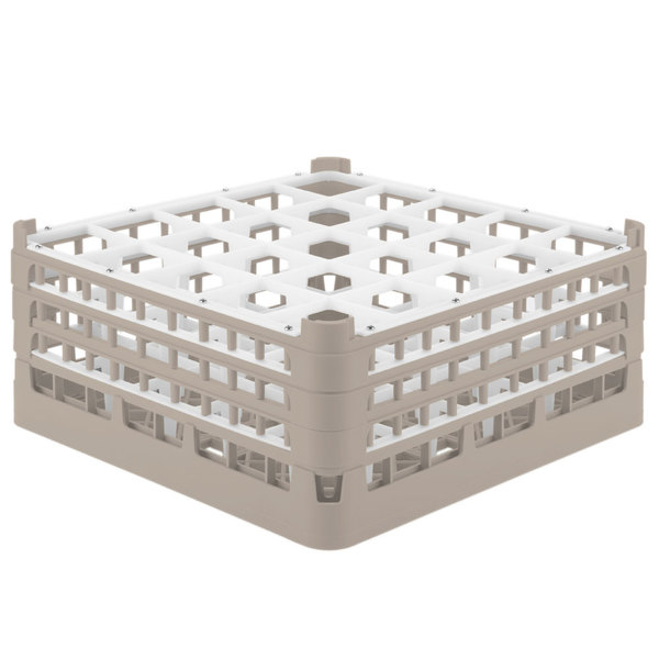 "Vollrath 52712 Signature Full-Size Beige 25-Compartment 7 1/8"" X-Tall Glass Rack"