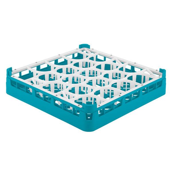 "Vollrath 52692 Signature Lemon Drop Full-Size Light Blue 20-Compartment 3 1/4"" Short Plus Glass Rack"