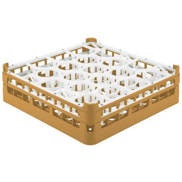 "Vollrath 52693 Signature Lemon Drop Full-Size Gold 20-Compartment 4 5/16"" Medium Glass Rack Main Image 1"