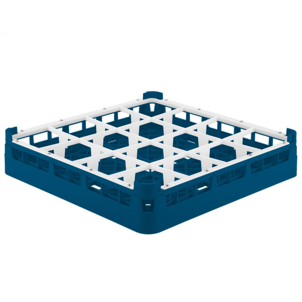 "Vollrath 52694 Signature Full-Size Royal Blue 16-Compartment 2 13/16"" Short Glass Rack"