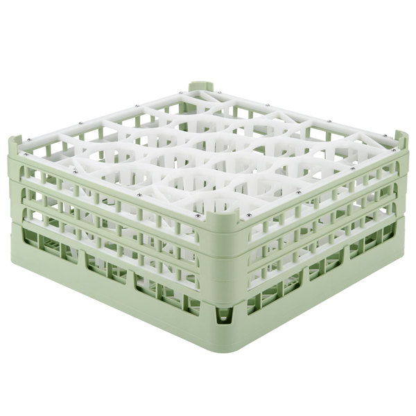 "Vollrath 52707 Signature Lemon Drop Full-Size Light Green 20-Compartment 7 11/16"" X-Tall Plus Glass Rack Main Image 1"