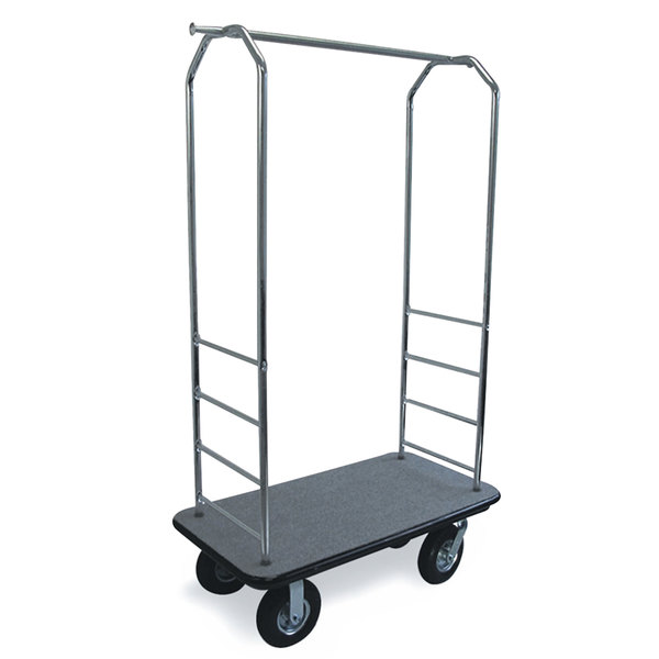 "CSL 2000BK-010 Chrome Finish Bellman's Cart with Rectangular Gray Carpet Base, Black Bumper, Clothing Rail, and 8"" Black Pneumatic Casters - 43"" x 23"" x 72 1/2"""