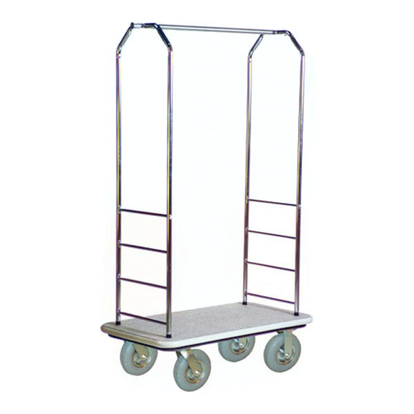 "CSL 2000GY-020 Chrome Finish Bellman's Cart with Rectangular Gray Carpet Base, Gray Bumper, Clothing Rail, and 8"" Gray Pneumatic Casters - 43"" x 23"" x 72 1/2"""