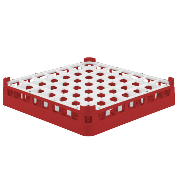 "Vollrath 52699 Signature Full-Size Red 49-Compartment 2 13/16"" Short Glass Rack"