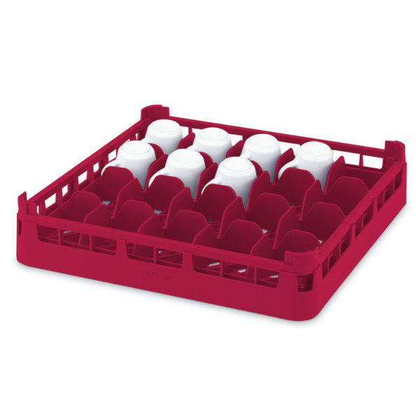 """Vollrath 52677 Signature Full-Size Red 20-Cup 4 1/8"""" Medium Rack"""