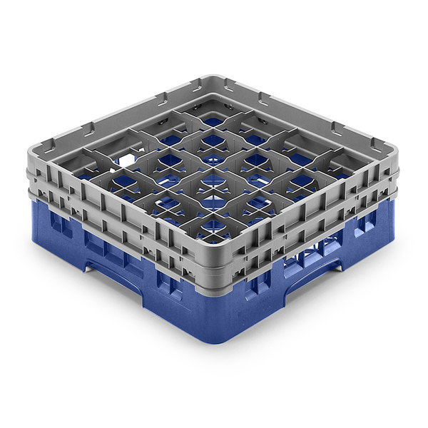 "Cambro 16S958168 Camrack Customizable 10 1/8"" High Customizable Blue 16 Compartment Glass Rack"
