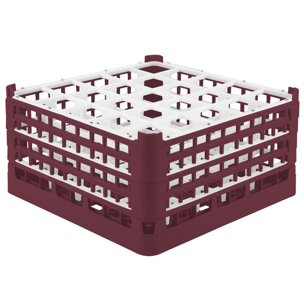 """Vollrath 52713 Signature Full-Size Burgundy 25-Compartment 8 1/2"""" XX-Tall Glass Rack"""