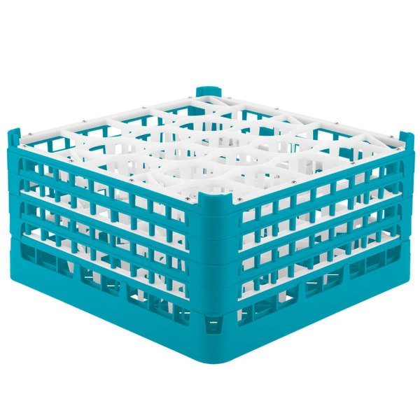"Vollrath 52709 Signature Lemon Drop Full-Size Light Blue 20-Compartment 9 1/16"" XX-Tall Plus Glass Rack Main Image 1"