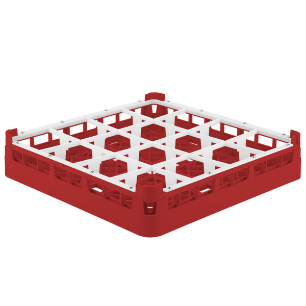 "Vollrath 52694 Signature Full-Size Red 16-Compartment 2 13/16"" Short Glass Rack"