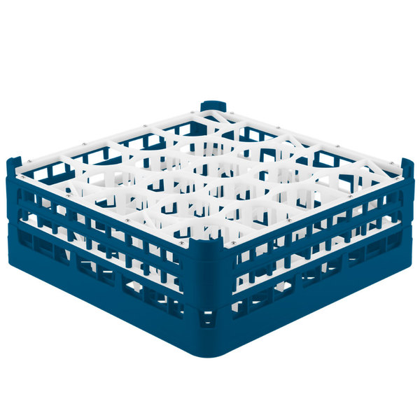 "Vollrath 52704 Signature Lemon Drop Full-Size Royal Blue 20-Compartment 6 1/4"" Tall Plus Glass Rack Main Image 1"