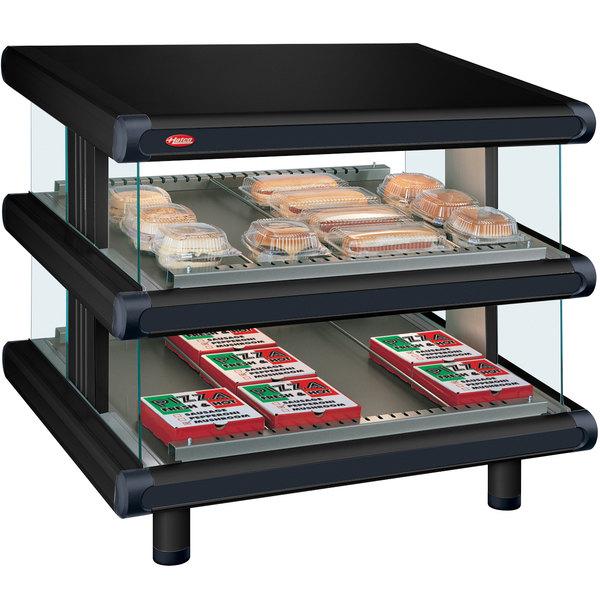 """Hatco GR2SDS-30D Black Glo-Ray Designer 30"""" Slanted Double Shelf Merchandiser - 120/208V"""