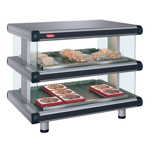 """Hatco GR2SDH-48D Gray Granite Glo-Ray Designer 48"""" Horizontal Double Shelf Merchandiser - 120/240V"""