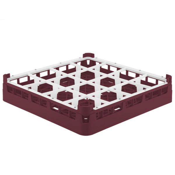 "Vollrath 52694 Signature Full-Size Burgundy 16-Compartment 2 13/16"" Short Glass Rack"