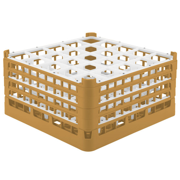 """Vollrath 52713 Signature Full-Size Gold 25-Compartment 8 1/2"""" XX-Tall Glass Rack"""