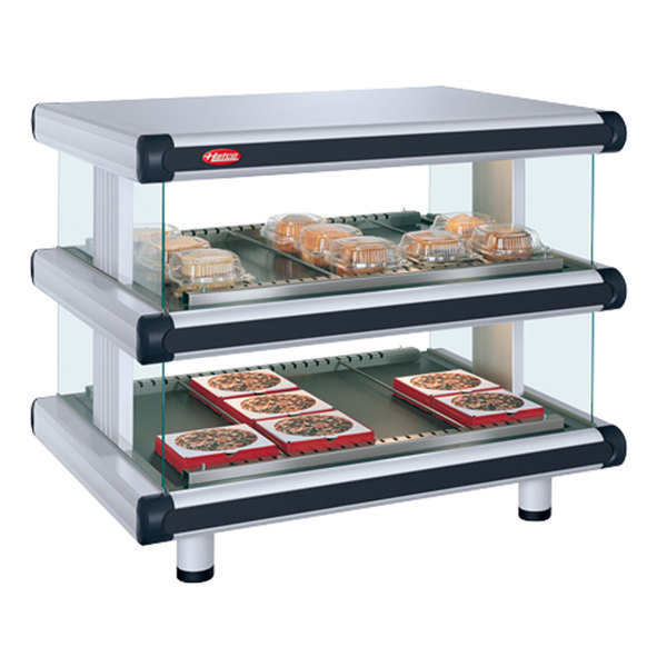 "Hatco GR2SDH-48D White Granite Glo-Ray Designer 48"" Horizontal Double Shelf Merchandiser - 120/240V"