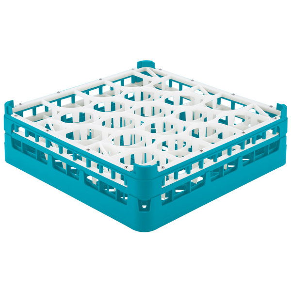 "Vollrath 52693 Signature Lemon Drop Full-Size Light Blue 20-Compartment 4 5/16"" Medium Glass Rack"