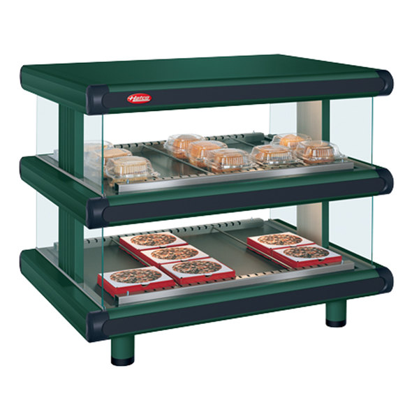 "Hatco GR2SDH-36D Hunter Green Glo-Ray Designer 36"" Horizontal Double Shelf Merchandiser - 120/240V"