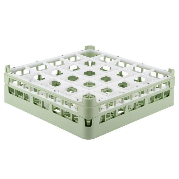 "Vollrath 52710 Signature Full-Size Light Green 25-Compartment 4 5/16"" Medium Glass Rack"