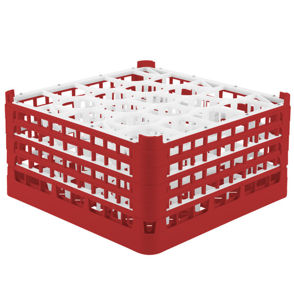 """Vollrath 52708 Signature Lemon Drop Full-Size Red 20-Compartment 8 1/2"""" XX-Tall Glass Rack Main Image 1"""