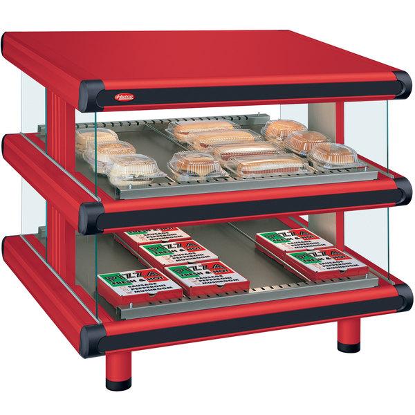 "Hatco GR2SDS-30D Warm Red Glo-Ray Designer 30"" Slanted Double Shelf Merchandiser - 120/208V"