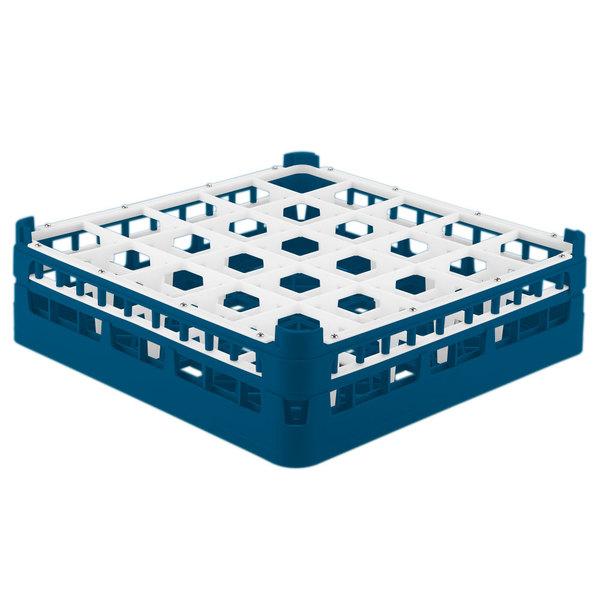 "Vollrath 52710 Signature Full-Size Royal Blue 25-Compartment 4 5/16"" Medium Glass Rack"