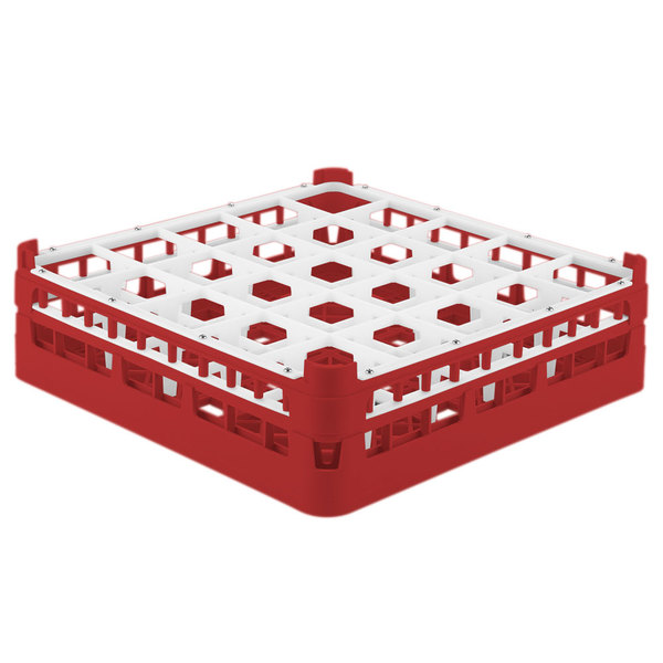 "Vollrath 52710 Signature Full-Size Red 25-Compartment 4 5/16"" Medium Glass Rack"