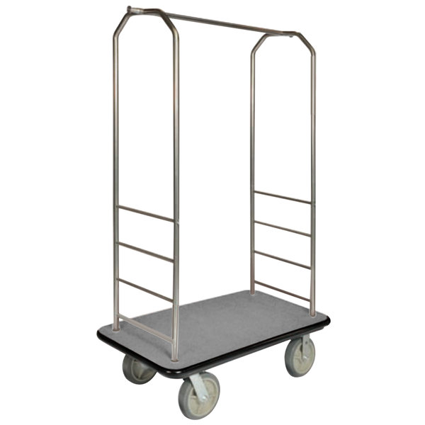 "CSL 2000BK-050 Chrome Finish Bellman's Cart with Rectangular Gray Carpet Base, Black Bumper, Clothing Rail, and 8"" Gray Polyurethane Casters - 43"" x 23"" x 72 1/2"" Main Image 1"